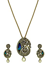 Zaveri Pearls Peacock Design Pendant Set With Peacock Feather For Women - ZPFK5637