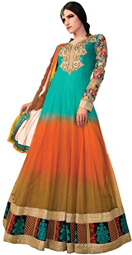 Exotic India Tri-Color Bridal Anarkali Suit with Crewel Embroider - MultiColoredGarment Size Large