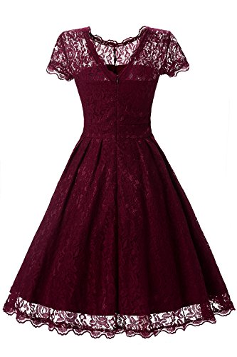 Gigileer Elegant Damen Kleider Spitzenkleid Cocktailkleid Knielanges Vintage 50er Jahr hochzeit Party weinrot XL -