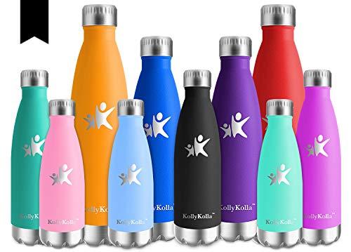 KollyKolla Vakuum Isolierte Edelstahl Trinkflasche, 650ml BPA Frei Wasserflasche Auslaufsicher, Thermosflasche für Sport, Outdoor, Fitness, Kinder, Schule, Kleinkinder, Kindergarten (Schwarz)