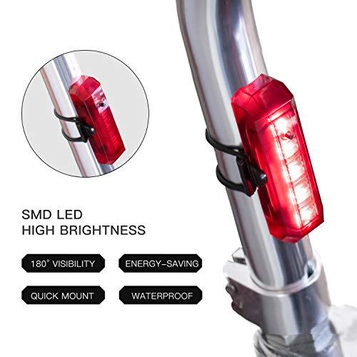 JOYSHOP LED Luce Posteriore per Bici USB Ricaricabile Potente luci Posteriori per Moto con 4 modalità Luce Fari fanalino Posteriore Combinazioni per Ciclismo Sicurezza Casco Torcia Mountain Bike