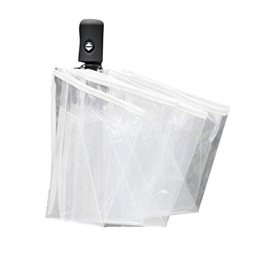Ombrello automatico ombrelli pieghevoli trasparenti uomini donne 8 costolette regalo trasparente ombrello antipioggia (bianco)