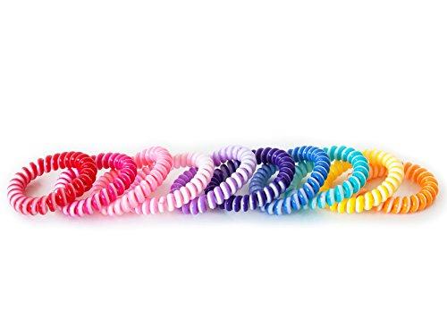 Haargummi 10er Set bunt Mix (Kunststoff-Spirale) Telefonkabel elastisch Haaraccessoire Haarschmuck - Kunststoff Elastischen
