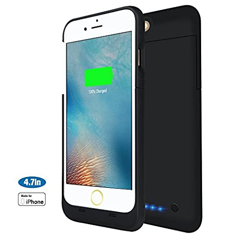 iPhone 6 / 6S Akkuhülle, 3200 mAh Ultra Dünn Schwarze Akku hülle Akku Schutzhülle [Apple MFi Zertifiziert] Aufladbares Schützendes Power Case für iPhone 6S / iPhone 6 (4,7 Zoll)