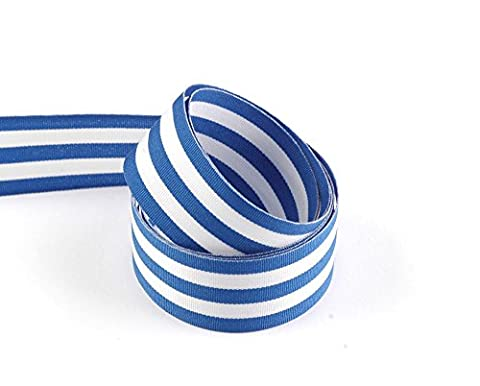 Blue/White Cotton striped ribbon 25mm x 1m length, cut from roll