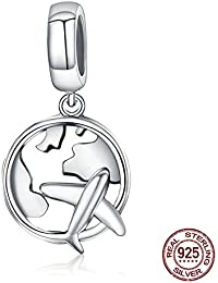 WANZIJING Charms Beads for Jewelry Making, Airplane Charms 925 Sterling Silver Map Colgante de Perlas se Adapta a Collar de Pulsera para niña