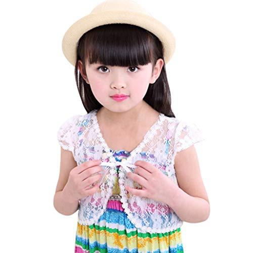 JINLILE Kinder Mädchen Bolero Jacke Hochzeit kurz Oberbekleidung Sommer Spitze Schal Mantel Gr. Medium, weiß (Jacke Hochzeit Band)