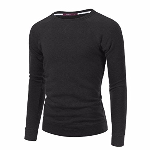 Men's High Quality O-neck Full Sleeve Pullovers Casual Sweatshirts Darkgray