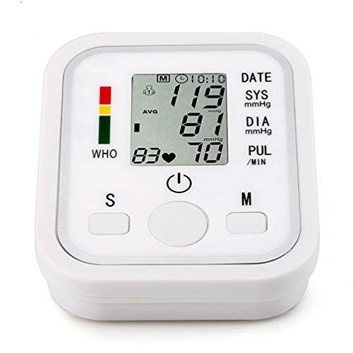 Monitor de presión arterial para la parte superior del brazo - Esfigmomanómetro electrónico de salud completo y portátil con indicador IHB e OMS, memoria 2x99, 2 modos de usuario, blanco