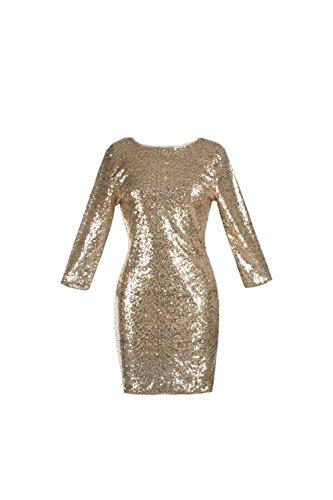 Sexy Pailletten rückenfreie Midi Club Bodycon Kleid für Damen Gold S