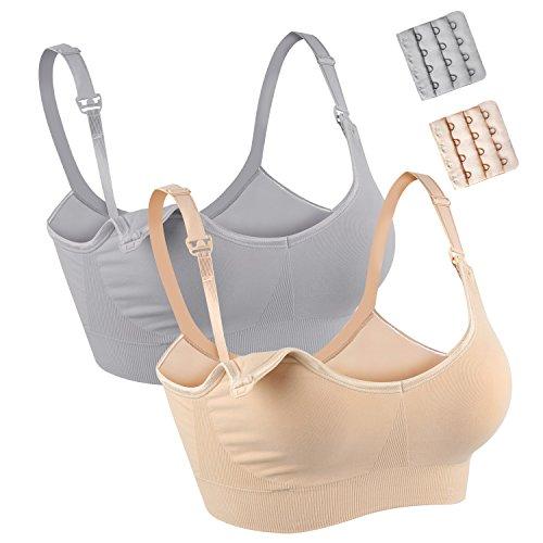 JOYNCLEON Damen Schwangerschafts- & Still-BHS nahtlos, ohne Bügel Nursing Bra (XL=90B-90G 95B-95G, Beige+Grau) - Bügel-side-unterstützung