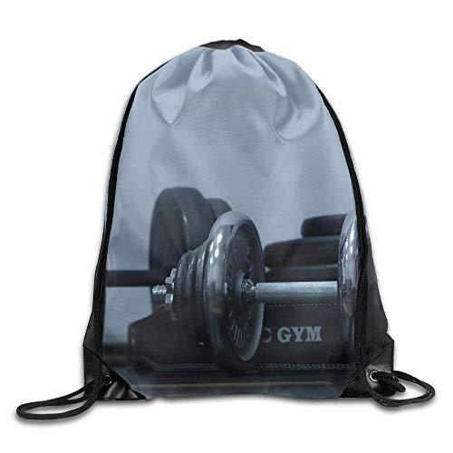 ZHIZIQIU Drawstring Bags Bulk Black Dumbells Drawstring Backpack Bag Shoulder Bags Bag for Adult Size: 4133cm