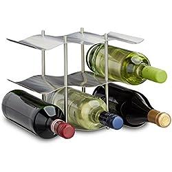 Relaxdays Botellero Vino para 9 Botellas, Acero Inoxidable, Plateado, 22 x 27 x 16,5 cm