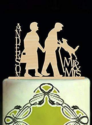 Décoration de gâteau d'anniversaire de mariage Cheyan Parents - Silhouette de vieux couples Mr et Mrs - Nom personnalisé avec chien rustique