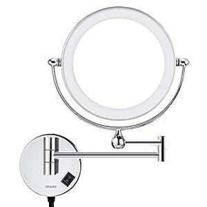 Kosmetikspiegel mit LED Beleuchtung 5X/1X Vergrößerung aus Kristallglas, Edelstahl und Messing, Doppelseitig, Rostfrei, Schminkspiegel Beleuchtet für Badezimmer, Spa und Hotel