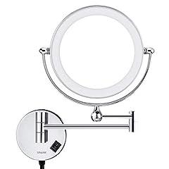 Idea Regalo - Specchio da bagno LED 5X Ingrandimento + Normale Double Sided Ingrandimento Specchio per doccia Specchio ingranditore luminoso Bagno con rotazione 360 gradi Ideale per trucco e rasatura