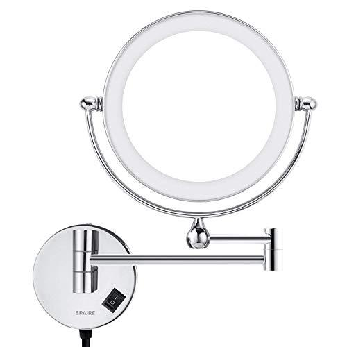 Spaire Espejo de baño LED 5X Lupa + Normal Ducha de Doble Cara Espejo Luminoso Espejo de Aumento Baño...