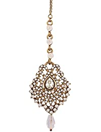 I Jewels Traditional Gold Plated Elegantly Handcrafted Stone Maang Tikka for Women T1032W (White)