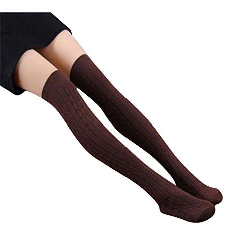 Kniestrümpfe,Amlaiworld Frauen stricken über Knie Strumpf Spirale Muster hoher Baumwollsocken (D) (Strümpfe Schiere Knie-hohe)