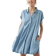 BYD Mujeres Camisetas Manga Corta Blusas Vaquero Denim T shirt Túnica Camisas Tops