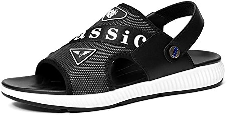 Wangcui Sommer Stecker Sandalen Leder Outdoor Sport Leicht Strand Schuhe Leder schwarz Sandalen (24.029 0) cmWangcui Stecker Sandalen Outdoor Rindsleder