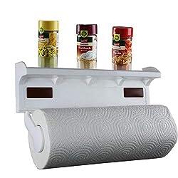 Lantelme Küchenrollenhalter mit Gewürzablage Wandrollenhalter Kunststoff Farbe weiß