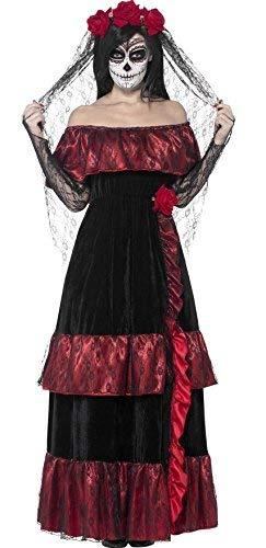Damen Tag der Toten Braut Skelett Zuckerschädel Halloween Kostüm Kleid Outfit UK 8-22 Übergröße - Schwarz, Mehrfarbig, UK 20-22