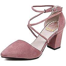 feac34617d Minetom Mujer Elegante Nubuck Zapatos Puntiagudos Cruz Correa De Tobillo  Sandalias Con Tacón Grueso