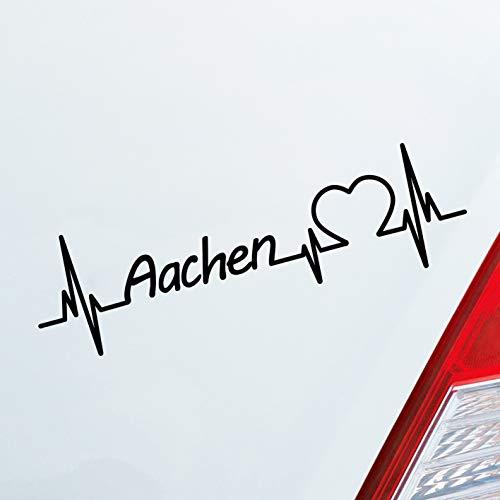 Auto Aufkleber in deiner Wunschfarbe Aachen Herz Puls Stadt City Sticker Liebe Love ca. 19 x 6 cm Autoaufkleber Sticker