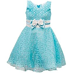 My Lil Princess Baby Girls Birthday Party wear Frock Dress_Golden Blue Flora New_1 - 1.5 Years