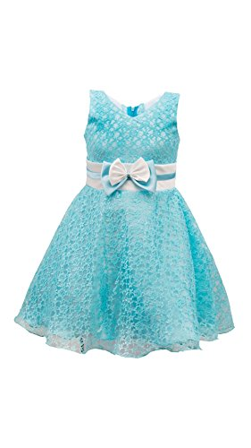 My Lil Princess Baby Girls Birthday Party wear Frock Dress_Golden Blue Flora New_4 - 5 Years