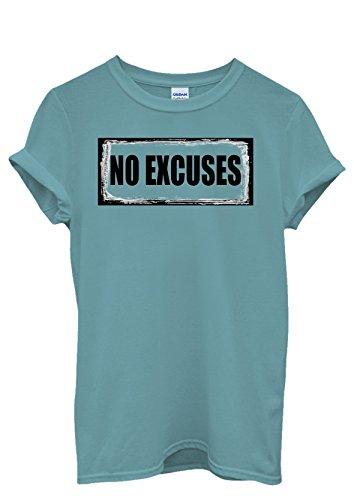 No Excuses Gym Workout Summer Guns Men Women Damen Herren Unisex Top T Shirt Licht Blau