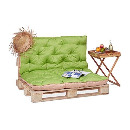 Relaxdays Palettenkissen für den Garten, Polsterauflagen für Europaletten, gestepptes Kissen mit Rückenlehne, grün