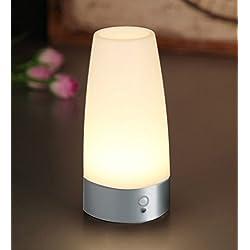 Aappy retro pequeña noche de luz Europea estilo inalámbrico PIR Sensor de movimiento de la batería LED de mesa de la lámpara barra de iluminación decrater lámparas para lavabo cabecera, dormitorio, baño, pasillo 3 AAA (Sliver)