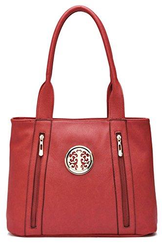Big Handbag Shop da donna in ecopelle 2tasca frontale con cerniera Maniglia Superiore Borsa a tracolla Red (LL963)
