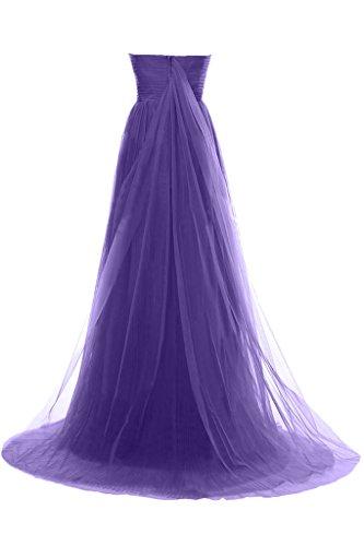 Milano Bride Edel Einfach Traegerlos Lang Tuell Abendkleider Festkleider Brautjungferinkleider Faltenwurf Rot
