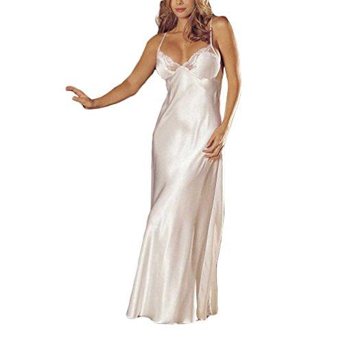 MERICAL Damen Dessous Spitze Babydoll Damen unterwäsche Sleepskirt Satin Spitze langes Kleid(XL,Weiß)