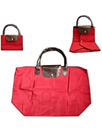 Lemish Foldable Waterproof Long Handle Nylon Foldable Shopping Handbag - Multi Color