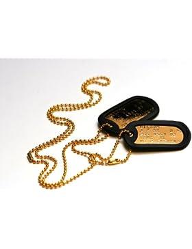Vergoldeten Erkennungsmarken: 2 personalisierten Erkennungsmarken im Armeestil mit Kugelkette & Schalldämpfern