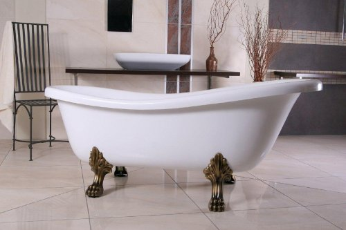 Casa Padrino Freistehende Luxus Badewanne Jugendstil Roma Weiß/Altgold 1695mm Barock Badezimmer - Retro Antik Badewanne