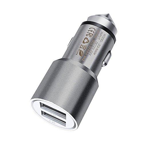 I-Sonite Gray Quick Charge Dual-Port-USB-Voll-Aluminium-Gehäuse Auto-Ladegerät Einschuss Adapter (3.1AMP/24W) mit Bruch-Glas-Sicherheits-Hammer für Bush B4 (Sockel Bush)