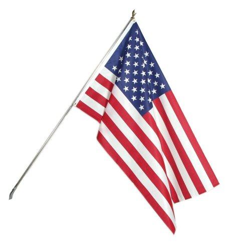 American Flagge, Outdoor Kit–3x 5Fuß Flagge mit 6Fuß Zinn vergoldet Stange # 25129 (Zinn Fuß)