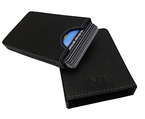 MJ-Design-Germany Kreditkartenetui Kartenbox für 10 Scheckkarten Büffelleder in Schwarz