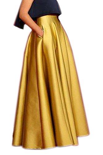 Izanoy Damen Satin Lange Röcke Hochzeit Brautjungfer Kleider Gold X-Large