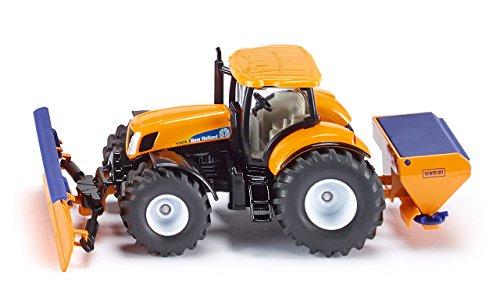 SIKU 2940, Traktor mit Räumschild und Streuer, Winterdienst, 1:50, Metall/Kunststoff, Orange/Blau, Abnehmbare Anbaugeräte