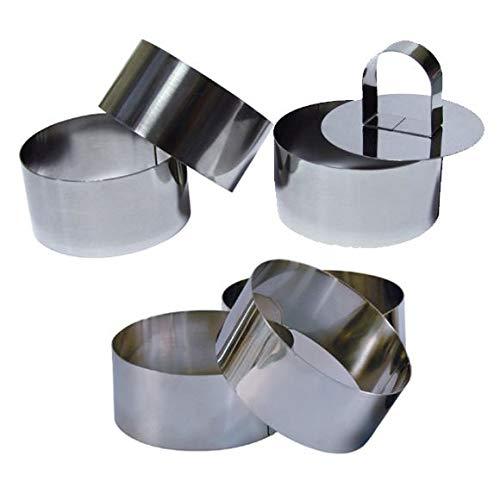 6 Cercles de présentation Inox avec 1 poussoir - 8 cm