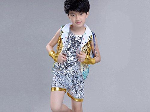 Kinder Jazz Dance kostüme Moderne Tanzkleidung Jungen trommeln hip-hop-Leistung Kleidung, 160cm, yellow2