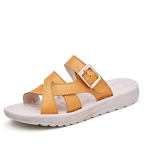 Moderne Sommer Damen Flach Plateau Drau脽en Slip On Dicke Sohle Einfache Weiche Sohle Gummi Anti Rutsch Strandschuhe Sandalen Gelb