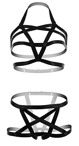 L04BABY Strappy Harness BH Panties 2 Stück Set Aushöhlung Body Cupless Gothic - Schwarz - Einheitsgröße -