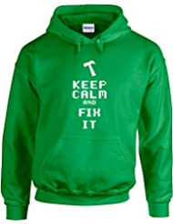 Keep Calm And Fix It, Gedruckt Hoody - Pullover
